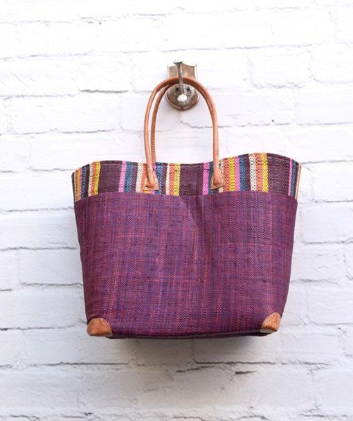 Τσάντα ψάθινο καλάθι Μωβ 002373a