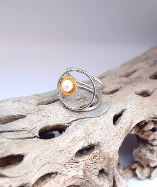 Δαχτυλίδι ασήμι με μαργαριτάρι 002501a