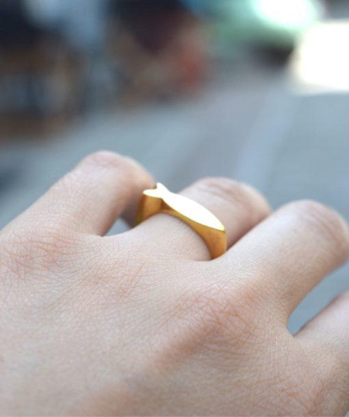 Δαχτυλίδι ψαράκι ασημί επιχρυσωμένο 002486a (4)