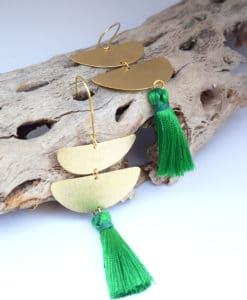 Επίχρυσα μακριά σκουλαρίκια με φούντες – Πράσινο 002506a