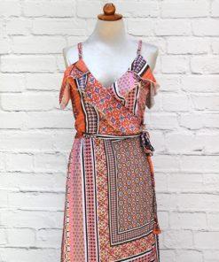 φόρεμα εμπριμέ κρουαζέ Poeta Artonomous 2