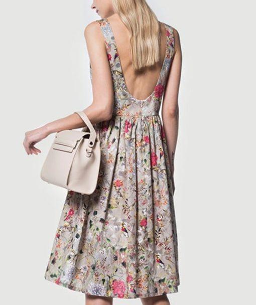 Φόρεμα εμπριμέ με ανοιχτή πλάτη 002514a (3)