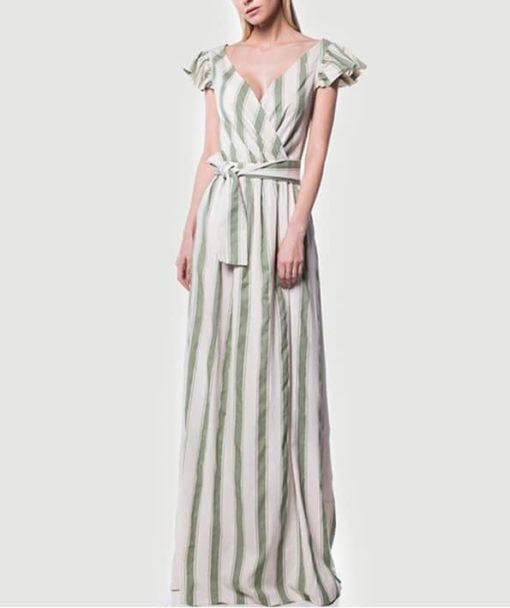Φόρεμα μακρύ ριγέ κρουαζέ 002509a (1)
