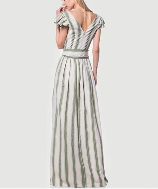 Φόρεμα μακρύ ριγέ κρουαζέ 002509a (3)