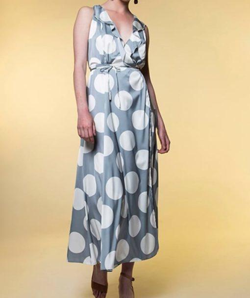 Φόρεμα Midi δετό πουά με βολάν 002513a (1)