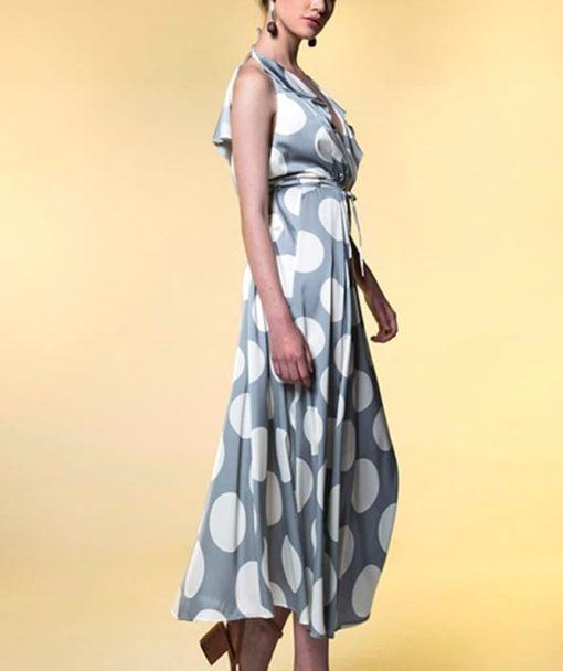 Φόρεμα Midi δετό πουά με βολάν 002513a (2)