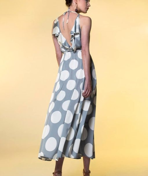 Φόρεμα Midi δετό πουά με βολάν 002513a (3)