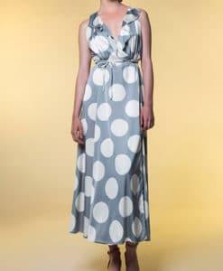 Φόρεμα Midi δετό πουά με βολάν 002513a (4)