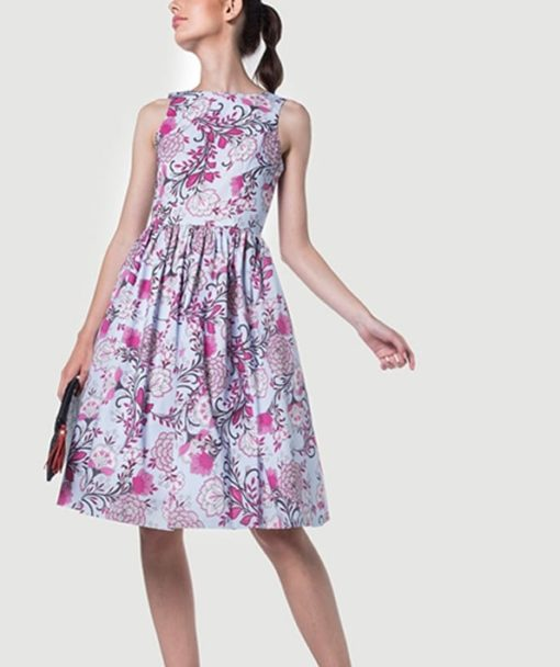 Φόρεμα Midi εμπριμέ με ανοιχτή πλάτη 002511a (1)