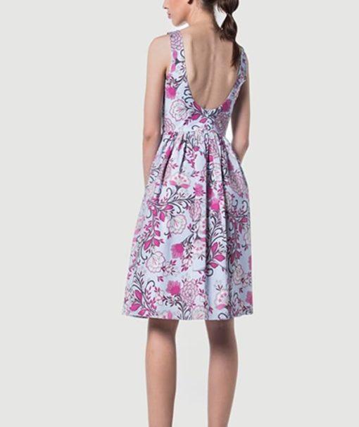 Φόρεμα Midi εμπριμέ με ανοιχτή πλάτη 002511a (2)