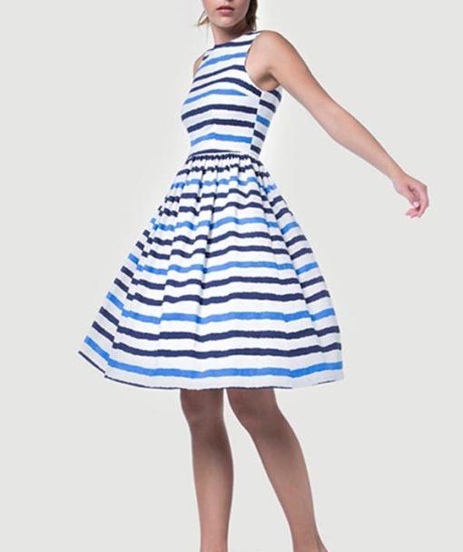 Φόρεμα Midi ριγέ με ανοιχτή πλάτη 002512a (1)