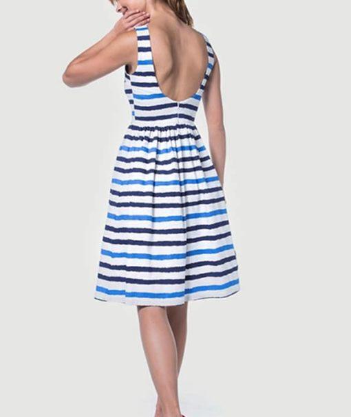 Φόρεμα Midi ριγέ με ανοιχτή πλάτη 002512a (3)