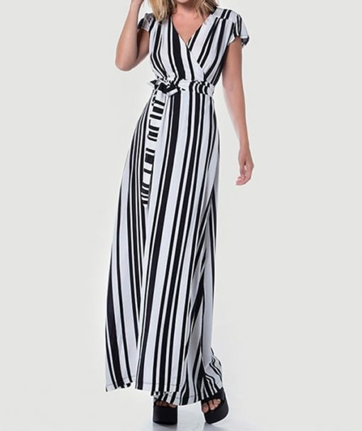 Maxi φόρεμα δετό ριγέ 002507a (1)