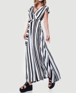 Maxi φόρεμα δετό ριγέ 002507a (2)