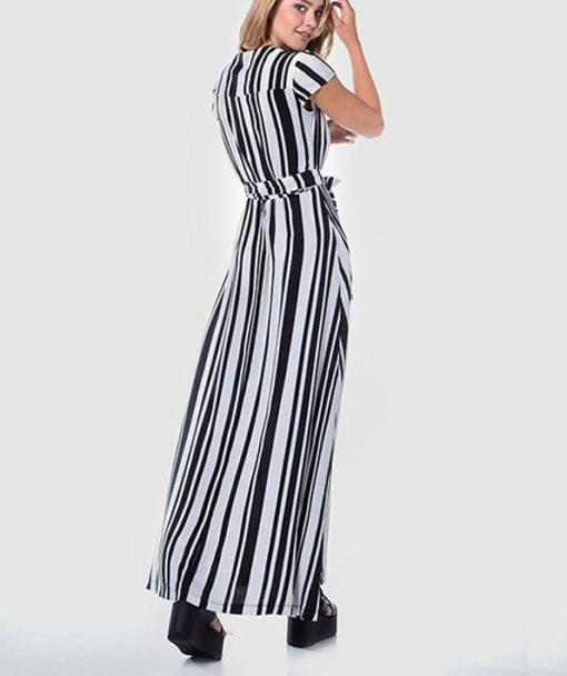 Maxi φόρεμα δετό ριγέ 002507a (3)