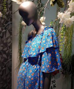 Poeta Floral Dress Blue Artonomous5