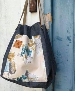 Υφασμάτινη τσάντα 2 σε 1 με λουλούδια 002464a