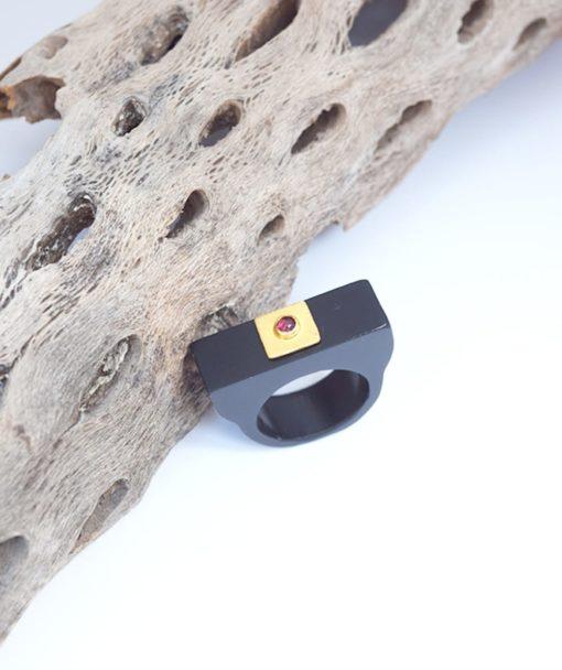 Δαχτυλίδι Plexiglas με επίχρυσο στοιχείο & γρανάτη 002537a (1)