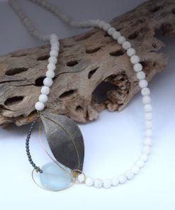 Κρεμαστό με λευκό κοράλι & Aquamarine 002548a (1)