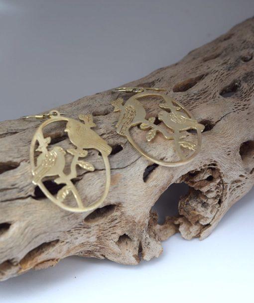 Σκουλαρίκια ασήμι επιχρυσωμένο πουλάκια 002547a (2)