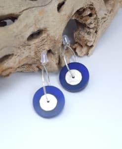 Σκουλαρίκια κρίκοι με Plexiglas Μπλε 002540a (1)