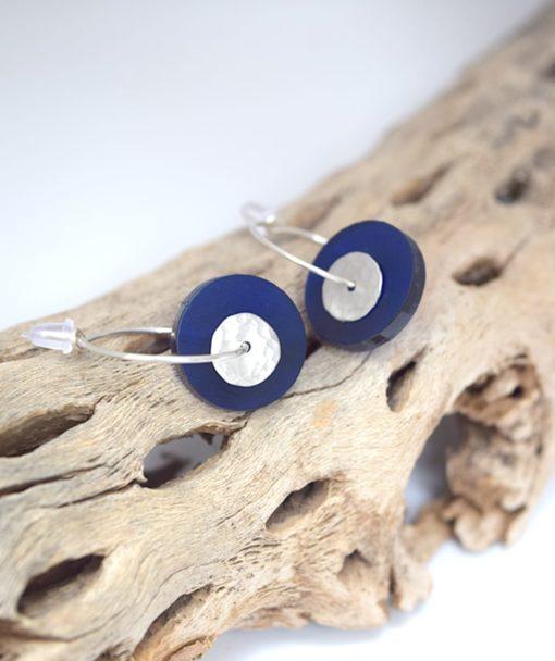 Σκουλαρίκια κρίκοι με Plexiglas Μπλε 002540a (2)