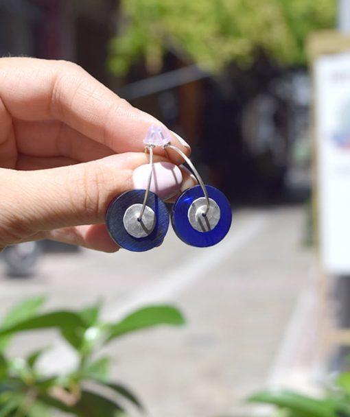 Σκουλαρίκια κρίκοι με Plexiglas Μπλε 002540a (3)