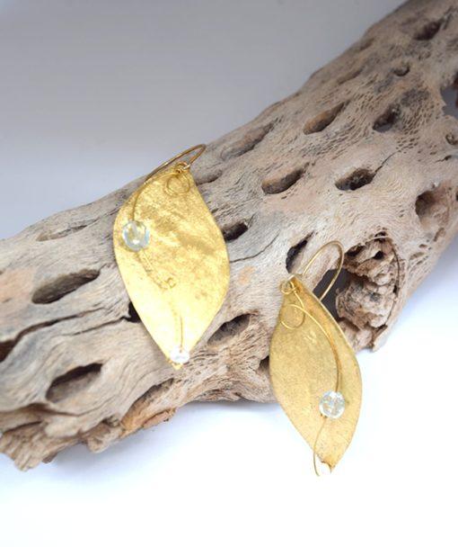 Σκουλαρίκια με μαργαριτάρι και Aquamarine 002542a (2)