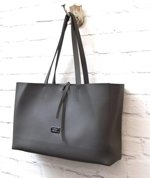 γυναικεία τσάντα Shoper γκρι Vasiliki Bellou Artonomous 2