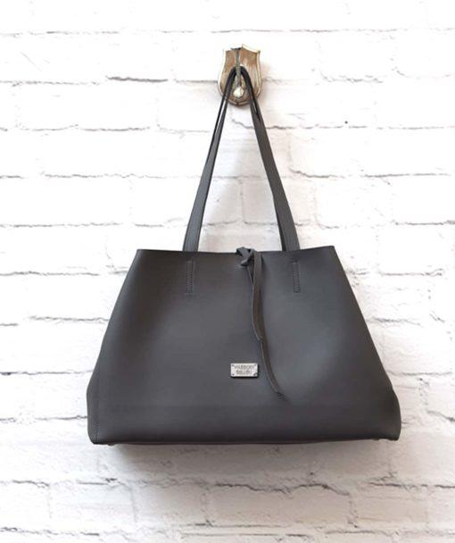 γυναικεία τσάντα Shoper γκρι Vasiliki Bellou Artonomous 3