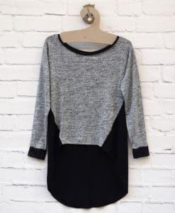 Μπλούζα πλεκτή Γκρι Μαύρο 0025580a (1)