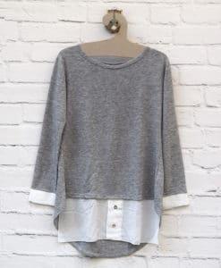 Μπλούζα πλεκτή Λευκό Γκρι 0025581a (1)