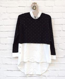 Μπλούζα πλεκτή με παγιέτα Μαύρο Λευκό 0025582a (1)