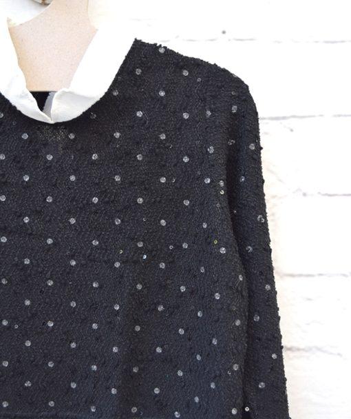 Μπλούζα πλεκτή με παγιέτα Μαύρο Λευκό 0025582a (2)