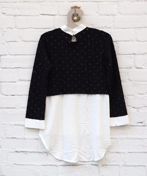 Μπλούζα πλεκτή με παγιέτα Μαύρο Λευκό 0025582a (3)