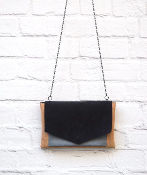 τσάντα φάκελος μαυρό γκρι δέρμα Redo Artonomous 1