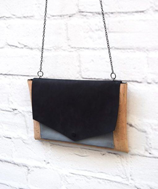 τσάντα φάκελος μαυρό γκρι δέρμα Redo Artonomous 3