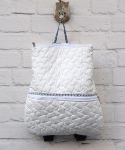 White Fabric Backpack Artonomous