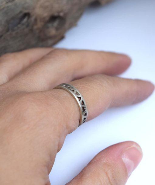 Δαχτυλίδι με γεωμετρικά σχέδια - Ασήμι 3