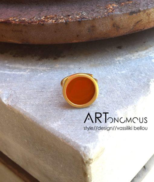 δαχτυλίδι σμάλτο κεραμιδί πριγκιπώ Artonomous 1