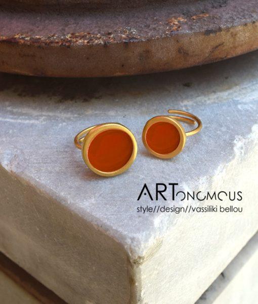 δαχτυλίδι σμάλτο κεραμιδί πριγκιπώ Artonomous 2