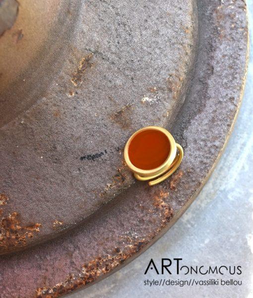 δαχτυλίδι σμάλτο κεραμιδί πριγκιπώ Artonomous 3