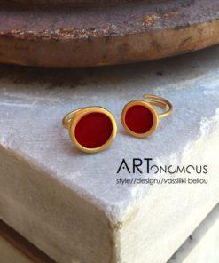 δαχτυλίδι σμάλτο κόκκινο πριγκιπώ Artonomous 2