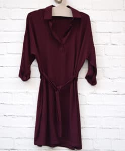 φόρεμα μπορντό με ζωνάκι 01
