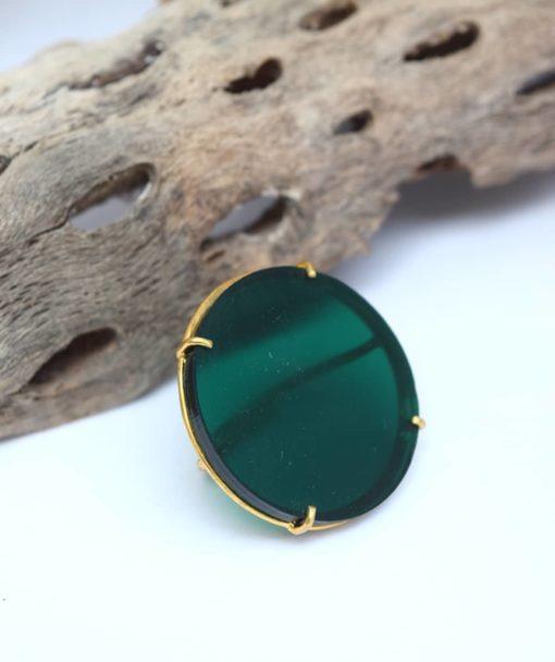 πράσινο δαχτυλίδι ασήμι Artonomous 5