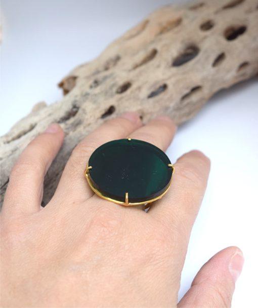 πράσινο δαχτυλίδι ασήμι Artonomous 6