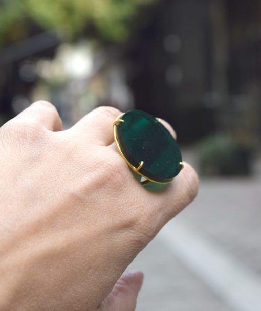 πράσινο δαχτυλίδι ασήμι Artonomous 7