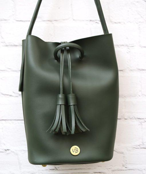 Shoulder Bag Olive Green Vasilikibellou Artonomous 2