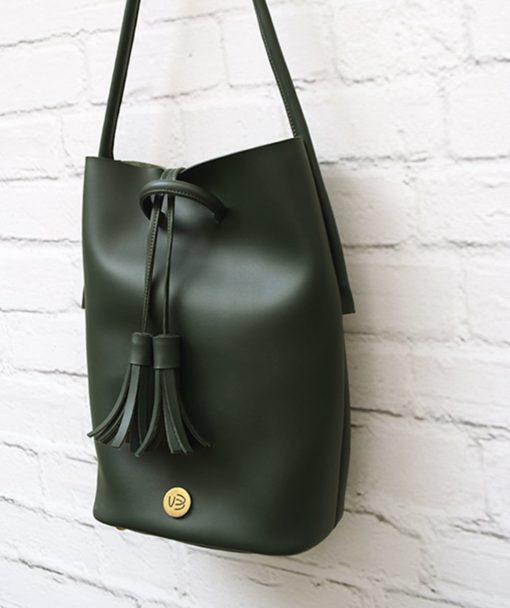 Shoulder Bag Olive Green Vasilikibellou Artonomous 3