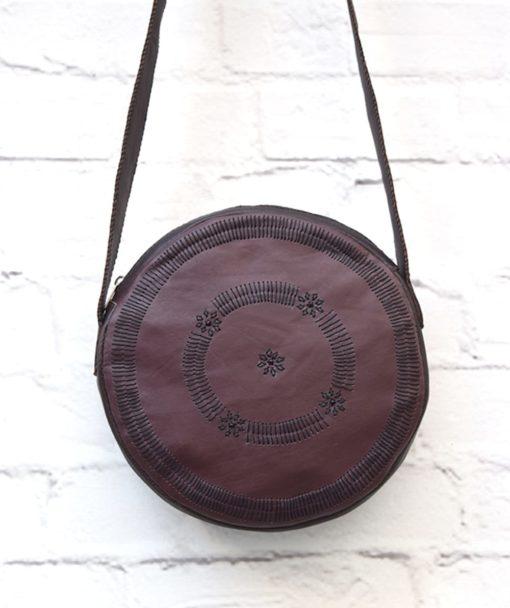 στρόγγυλη τσάντα δέρμα μπορντό 2